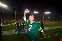 Former Green Bay Packer quarterback Don Majkowski waves to the fans at Lambeau Field during alumni introductions prior to the kickoff betwen the Seattle Seahawks and the Packers on Sept. 20, 2015.