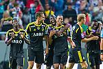 Solna 2013-08-06 Football Friendly Game , AIK - Manchester United FC :  <br /> AIK 15 Robin Quaison gratuleras av AIK 9 Martin Kayongo Mutumba , AIK 17 Ebenezer Ofori  , AIK 2 Niklas Backman efter sitt 1-0 m&aring;l<br /> (Foto: Kenta J&ouml;nsson) Nyckelord:  jubel gl&auml;dje lycka glad happy
