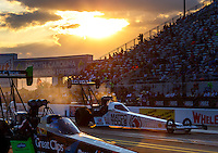 Sep 16, 2016; Concord, NC, USA; NHRA top fuel driver Antron Brown during qualifying for the Carolina Nationals at zMax Dragway. Mandatory Credit: Mark J. Rebilas-USA TODAY Sports