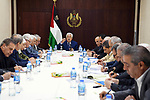 Palestinian President Mahmoud Abbas chairs a meeting of Fatah Central Committee, in the West Bank city of Ramallah on July 8, 2018. Photo by Thaer Ganaim