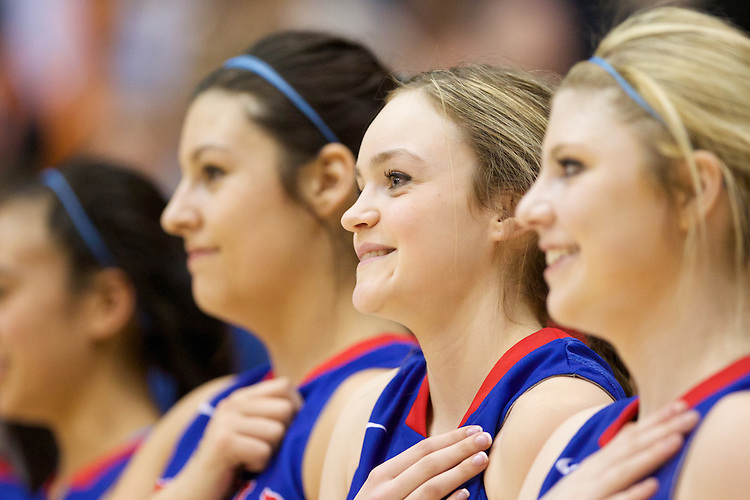 Mar 11, 2015; Portland, OR, USA;  La Salle Prep stand during National Anthem before playing Hermiston Bulldogs in the 5A Girls Basketball State Championship at Gill Coliseum.<br /> Photo by Jaime Valdez