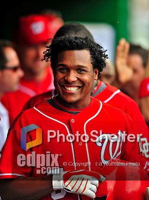 24 May 2009: Washington Nationals' infielder Anderson Hernandez smiles in the dugout during a game against the Baltimore Orioles at Nationals Park in Washington, DC. The Nationals rallied to defeat the Orioles 8-5 and salvage one win of their interleague series. Mandatory Credit: Ed Wolfstein Photo