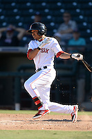 Surprise Saguaros second baseman Mookie Betts (16), of the Boston Red Sox organization, during an Arizona Fall League game against the Scottsdale Scorpions on October 17, 2013 at Surprise Stadium in Surprise, Arizona.  Surprise defeated Scottsdale 10-5.  (Mike Janes/Four Seam Images)
