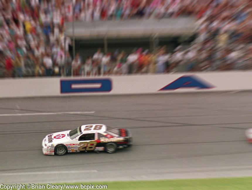 Davey Allison 1st place winner Ford Thunderbird action zoom speed blur Pepsi 400 at Daytona International Speedway in Daytona beach, FL on July 1, 1989. (Photo by Brian Cleary/www.bcpix.com)