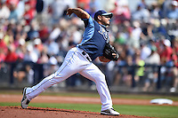 Tampa Bay Rays pitcher Joel Peralta (62) during a spring training game against the Boston Red Sox on March 25, 2014 at Charlotte Sports Park in Port Charlotte, Florida.  (Mike Janes/Four Seam Images)