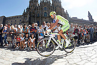 Eros Capecchi passes by the front of the Obradoiro of the Cathedral of Santiago de Compostela before the stage of La Vuelta 2012 between Santiago de Compostela and Ferrol.August 31,2012. (ALTERPHOTOS/Acero)