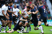 Metuisela Talebula of Fiji is double-tackled. Old Mutual Wealth Series International match between England and Fiji on November 19, 2016 at Twickenham Stadium in London, England. Photo by: Patrick Khachfe / Onside Images