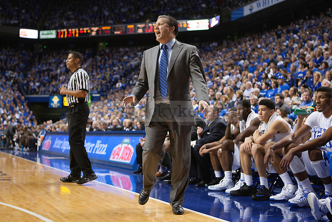 Head coach John Caliper of the Kentucky Wildcats yells directions to his team during the second half of the game against the Providence Friars at Rupp Arena on Sunday, November 30, 2014 in Lexington, Ky. Kentucky defeated Providence 58-38. Photo by Michael Reaves | Staff