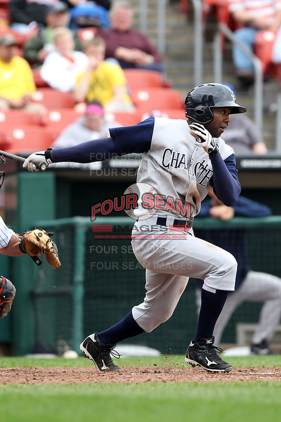 Charlotte Knights outfielder Alejandro De Aza #7 at bat during a game against the Buffalo Bisons at Dunn Tire Park on May 22, 2011 in Buffalo, New York.  Buffalo defeated Charlotte by the score of 7-5.  Photo By Mike Janes/Four Seam Images