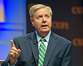 United States Senator Lindsey Graham (Republican of South Carolina), a candidate for the 2016 Republican nomination for President of the United States, shares his thoughts on Israel and the Middle East at the 2015 Christians United For Israel Summit Candidates Forum at the Washington Convention Center in Washington, DC on Monday, July 13, 2015. <br /> Credit: Ron Sachs / CNP