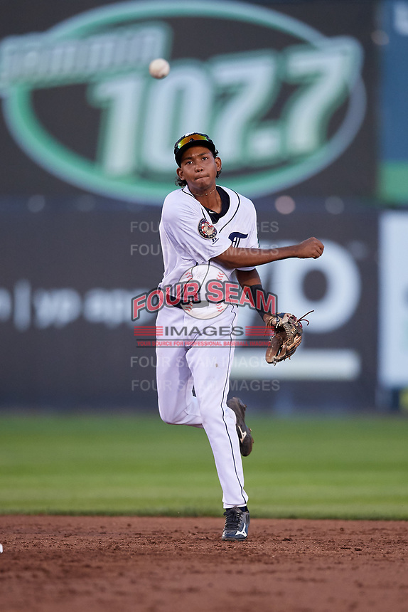 Connecticut Tigers shortstop Jose King (48) throws to first base during a game against the Hudson Valley Renegades on August 20, 2018 at Dodd Stadium in Norwich, Connecticut.  Hudson Valley defeated Connecticut 3-1.  (Mike Janes/Four Seam Images)