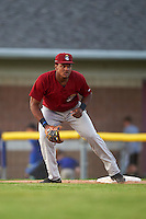 Mahoning Valley Scrappers first baseman Emmanuel Tapia (6) during the second game of a doubleheader against the Batavia Muckdogs on July 2, 2015 at Dwyer Stadium in Batavia, New York.  Mahoning Valley defeated Batavia 3-0.  (Mike Janes/Four Seam Images)