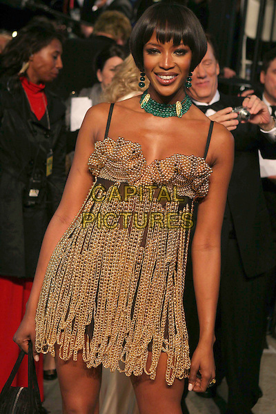 NAOMI CAMPBELL.At the 2007 Vanity Fair Oscar Party held at Morton's, West Hollywood, CA, USA,.February 25th 2007..half length black gold chain dress metal chains choker necklace.CAP/LNC/RIC.©LNC/Capital Pictures.
