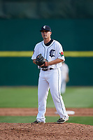 Connecticut Tigers relief pitcher Wes Noble (39) gets ready to deliver a pitch during a game against the Lowell Spinners on August 26, 2018 at Dodd Stadium in Norwich, Connecticut.  Connecticut defeated Lowell 11-3.  (Mike Janes/Four Seam Images)