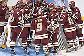 BC players huddle before the start of their Semi - The Boston College Eagles defeated the University of North Dakota Fighting Sioux 6-5 on Thursday, April 6, 2006, in the 2006 Frozen Four afternoon Semi-Final at the Bradley Center in Milwaukee, Wisconsin.