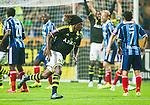 Solna 2015-08-10 Fotboll Allsvenskan AIK - Djurg&aring;rdens IF :  <br /> AIK:s Mohamed Bangura firar sitt 1-0 m&aring;l under matchen mellan AIK och Djurg&aring;rdens IF <br /> (Foto: Kenta J&ouml;nsson) Nyckelord:  AIK Gnaget Friends Arena Allsvenskan Djurg&aring;rden DIF jubel gl&auml;dje lycka glad happy