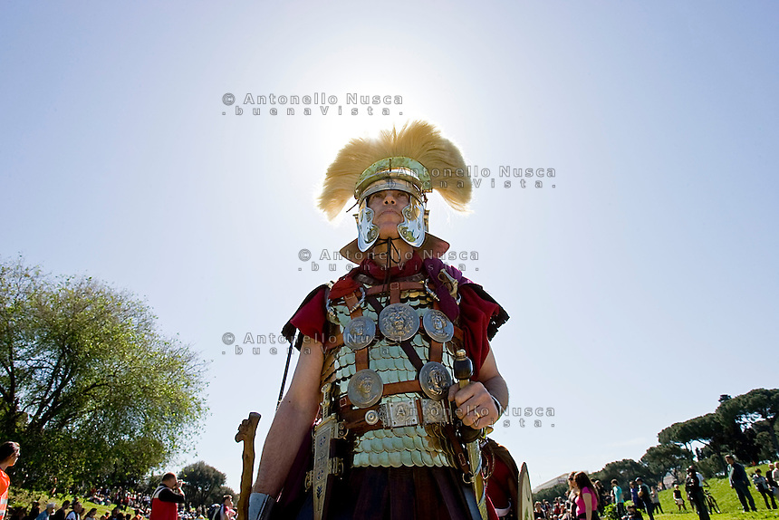 A man dressed as a centurion parade on street of Rome during the elebrations for the 2761st anniversary of fondation of Rome...Un uomo vestito da gladiatore durante le celebrazioni per il 2761° natale di Roma.