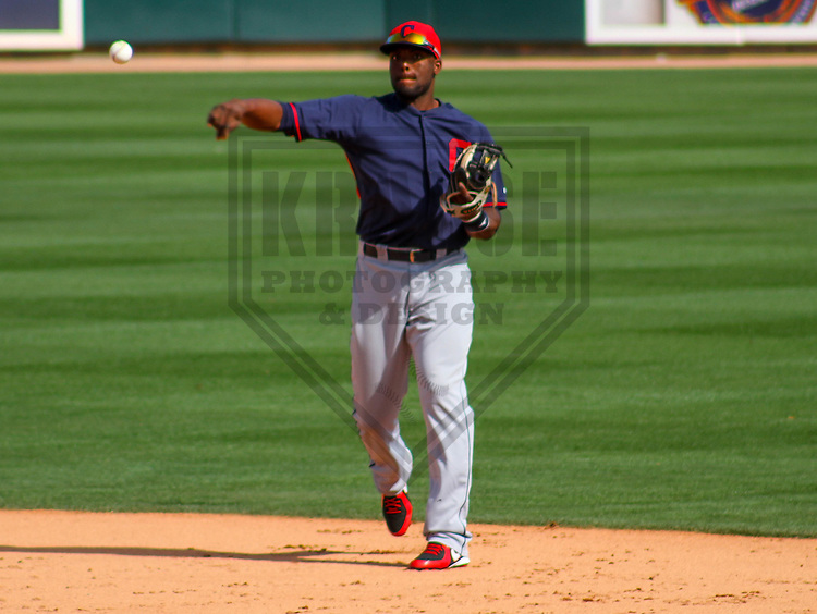 GLENDALE - March 2015: Audy Ciriaco (79) of the Cleveland Indians during a spring training game against the Los Angeles Dodgers on March 17th, 2015 at Camelback Ranch in Glendale, Arizona. (Photo Credit: Brad Krause)