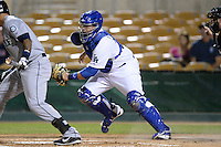 Glendale Desert Dogs catcher Chris O'Brien (26), of the Los Angeles Dodgers organization, during an Arizona Fall League game against the Peoria Javelinas on October 14, 2013 at Camelback Ranch Stadium in Glendale, Arizona.  Glendale defeated Peoria 5-1.  (Mike Janes/Four Seam Images)