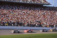 Michael Waltrip (15), Dale Earnhardt Jr (8), Dale Eranhardt (3), Bobby Hamilton (55) action, Daytona 500, Daytona International Speedway, Daytona Beach, FL, February 18, 2001.  (Photo by Brian Cleary/ www.bcpix.com )