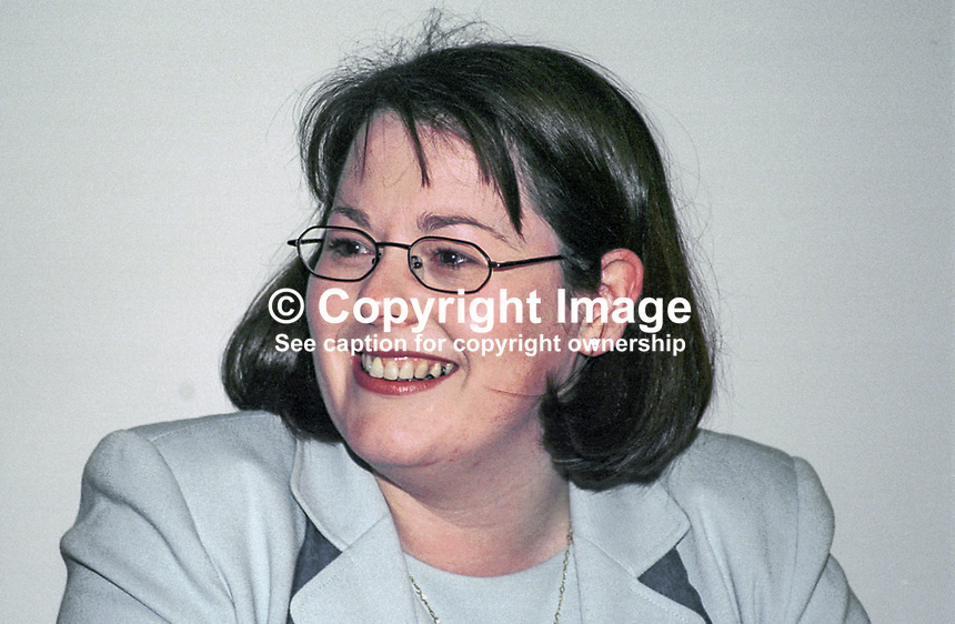 Michelle Gildernew, Sinn Fein, MLA, N Ireland Assembly, on the platform of the 2000 Sinn Fein Ard Fheis, party conference, Dublin, Rep of Ireland, 200004041, April..Copyright Image from Victor Patterson, 54 Dorchester Park, Belfast, UK, BT9 6RJ..Tel: +44 28 9066 1296.Mob: +44 7802 353836.Voicemail +44 20 8816 7153.Skype: victorpattersonbelfast.Email: victorpatterson@mac.com.Email: victorpatterson@ireland.com (back-up)..IMPORTANT: If you wish to use this image or any other of my images please go to www.victorpatterson.com and click on the Terms & Conditions. Then contact me by email or phone with the reference number(s) of the image(s) concerned.