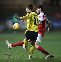 Oxford United's Josh Ruffels clears under pressure from Fleetwood Town's Ashley Nadesan<br /> <br /> Photographer Rich Linley/CameraSport<br /> <br /> The EFL Sky Bet League One - Fleetwood Town v Oxford United - Saturday 12th January 2019 - Highbury Stadium - Fleetwood<br /> <br /> World Copyright &copy; 2019 CameraSport. All rights reserved. 43 Linden Ave. Countesthorpe. Leicester. England. LE8 5PG - Tel: +44 (0) 116 277 4147 - admin@camerasport.com - www.camerasport.com