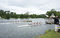 Henley on Thames, United Kingdom. 2016 Henley Masters' Regatta. Henley Reach. England. on Saturday  09/07/2016   [Mandatory Credit/ Peter SPURRIER/Intersport Images]<br /> <br /> The Aligner holds the white flag up to confirm to the starter,  that the crews are aligned. Rowing, Henley Reach, Henley Masters' Regatta.<br /> <br /> General View,  Henley Reach, venue, for the 2016 Henley Masters Regatta.