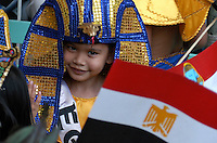 School children dressed up for the United Nations Day, each class is dressed in different costumes representing various Nations, this event is held yearly in different international schools in Manila, Philippines