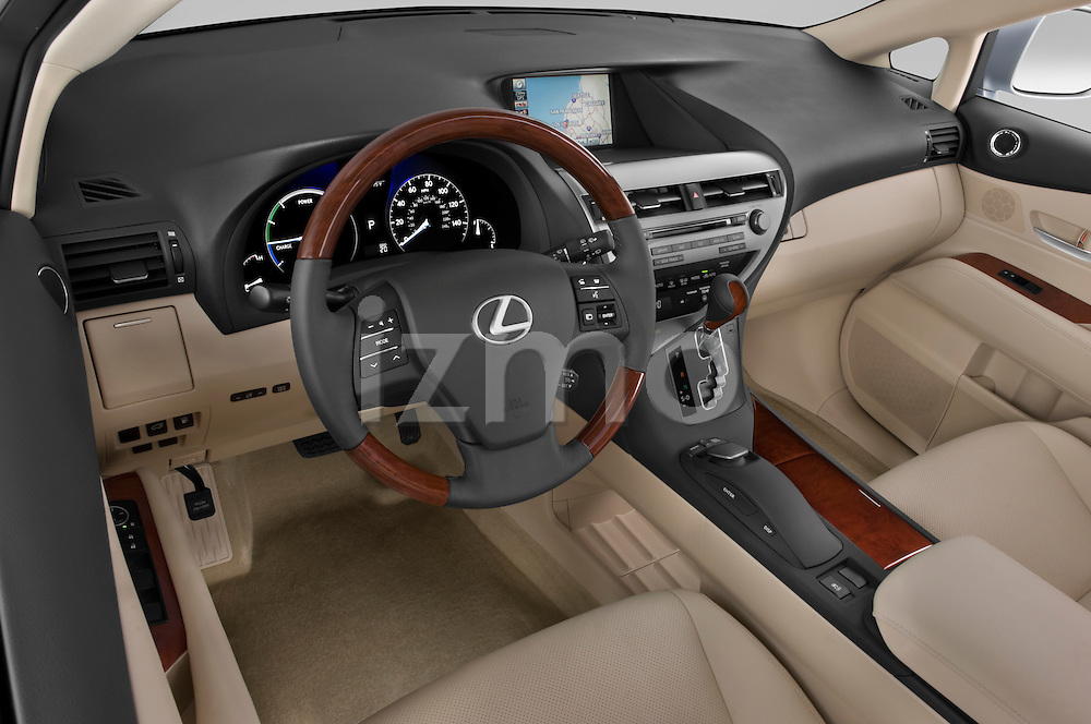 High angle dashboard view of a 2010 Lexus RX 450h