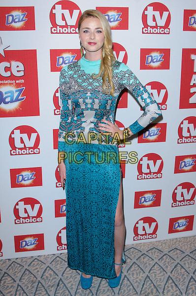 Freya Mavor.Arrivals at the TV Choice Awards 2012 held at the Dorchester Hotel, London, England..September 10th, 2012.full length blue white pattern dress top skirt slit split.CAP/CJ.©Chris Joseph/Capital Pictures.