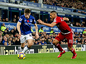 5th November 2017, Goodison Park, Liverpool, England; EPL Premier League Football, Everton versus Watford; Jonjoe Kenny of Everton goes past Richarlison of Watford