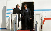 French President Nicolas Sarkozy arrives with his delegation April 12, 2010 at Andrews Air Force Base in Maryland. Leaders from around the world including nuclear powers are meeting in Washington this week for a two-day nuclear security summit..Credit: Olivier Douliery / Pool via CNP