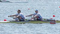 Brandenburg. GERMANY.<br /> NOR M2X.  Bow Kjetil BORCH, and Olaf<br /> TUFTE,  016 European Rowing Championships at the Regattastrecke Beetzsee<br /> <br /> Saturday  07/05/2016<br /> <br /> [Mandatory Credit; Peter SPURRIER/Intersport-images]