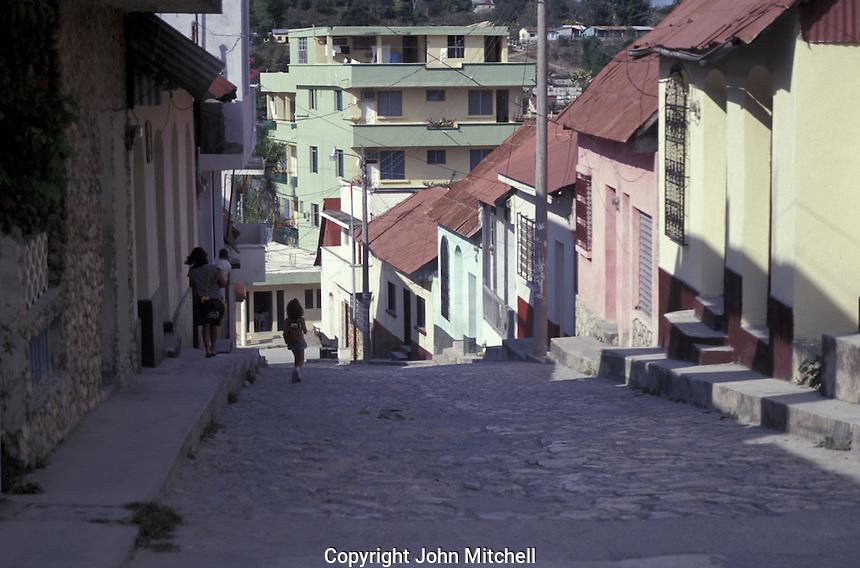 Typical street in the town of Flores, Lake Peten Itza, El Peten, Guatemala