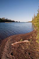 A beach at Duncan Narrows campsite at Isle Royale National Park in Michigan USA.
