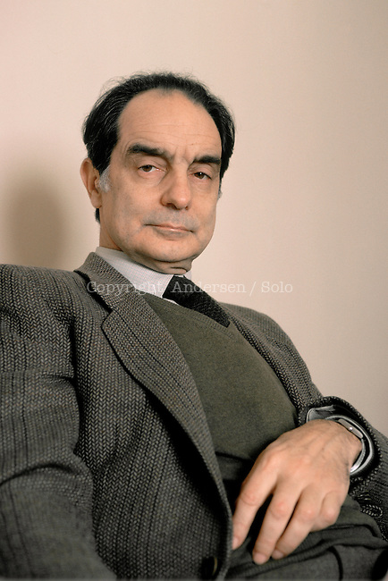 Italo Calvino,Italian writer at home in Paris, 1984.