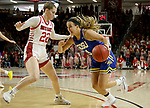 VERMILLION, SD - JANUARY 19: Lindsey Theuninck #3 of the South Dakota State Jackrabbits looks to get a step past Chloe Lamb #22 of the South Dakota Coyotes at the Sanford Coyote Center on January 19, 2020 in Vermillion, South Dakota. (Photo by Dave Eggen/Inertia)