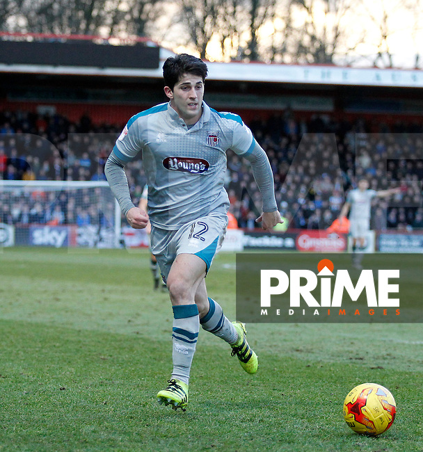 Grimsby's Zak Mills in action during the Sky Bet League 2 match between Stevenage and Grimsby Town at the Lamex Stadium, Stevenage, England on 28 January 2017. Photo by Carlton Myrie / PRiME Media Images.