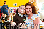 Teacher Olive Uí Ghéaráin pictured with her son Fionn Ó Géaráin pictured on his first day of school at Gaelscoil Mhic Easmainn, Tralee, on Wednesday morning last.
