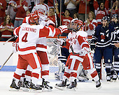 BU celebrates Charlie Coyle's (BU - 3) first goal of the game. - The Boston University Terriers defeated the visiting University of Toronto Varsity Blues 9-3 on Saturday, October 2, 2010, at Agganis Arena in Boston, MA.