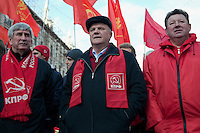 Moscow, Russia, 07/11/2010..Party leader Gennady Zyuganov and members and supporters of the Russian Communist Party demonstrate to celebrate the 83rd anniversary of the October 1917 Bolshevik revolution. Russia no longer officially celebrates the anniversary of the 1917 Revolution that brought Vladimir Lenin to power and established communist rule in Russia and the Soviet Union over seven decades.