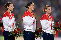 Kate Markgraf, Shannon Boxx, Christie Rampone. The USWNT defeated Brazil, 1-0, to win the gold medal during the 2008 Beijing Olympics at Workers' Stadium in Beijing, China.