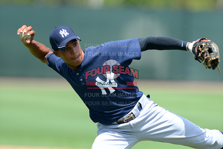 GCL Yankees 2 second baseman Jose Javier (91) during practice before a game against the GCL Phillies on July 22, 2013 at Carpenter Complex in Clearwater, Florida.  GCL Yankees defeated the GCL Phillies 2-1.  (Mike Janes/Four Seam Images)
