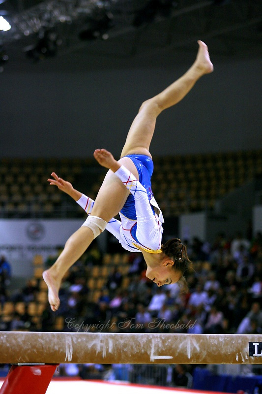 Oct 16, 2006; Aarhus, Denmark;  Elena Chiric of Romania performs on balance beam during women's gymnastics team competition at 2006 World Championships Artistic Gymnastics.