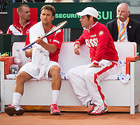 16-09-12, Netherlands, Amsterdam, Tennis, Daviscup Netherlands-Suisse, Mario Chiudinelli on the Suisse bench with captain Severin Luthi