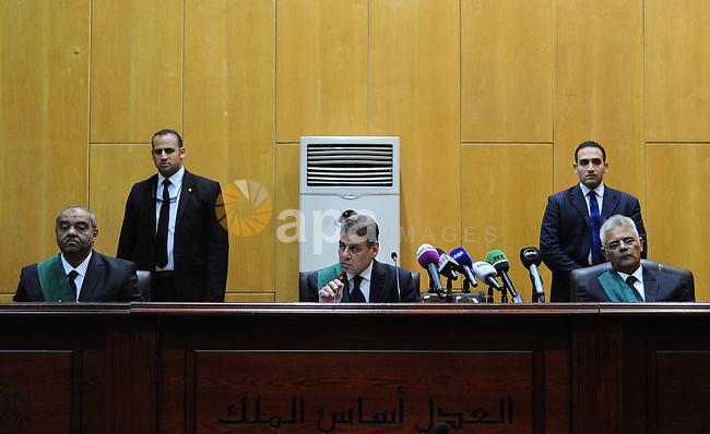 Egyptian Judges attends the trial of Egyptian ousted president Mohammed Morsi and members of defendants of Egyptian Muslim Brotherhood on the outskirts of the capital Cairo, on February 26, 2017. Photo by Egyptian President Office