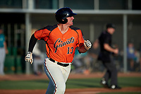 AZL Giants Orange Connor Cannon (13) jogs to first base during an Arizona League game against the AZL Mariners on July 18, 2019 at the Giants Baseball Complex in Scottsdale, Arizona. The AZL Giants Orange defeated the AZL Mariners 7-4. (Zachary Lucy/Four Seam Images)