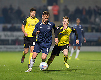 3rd December 2019; Pirelli Stadium, Burton Upon Trent, Staffordshire, England; English League One Football, Burton Albion versus Southend United; Brandon Goodship of Southend United with the ball at his feet getting away from Stephen Quinn of Burton Albion  - Strictly Editorial Use Only. No use with unauthorized audio, video, data, fixture lists, club/league logos or 'live' services. Online in-match use limited to 120 images, no video emulation. No use in betting, games or single club/league/player publications