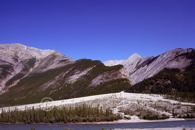 Alluvial Fan Sediment Deposit, Boreal Forest and Northern Rocky Mountains along Alaska Highway, near Muncho Lake Provincial Park, Northern BC, British Columbia, Canada