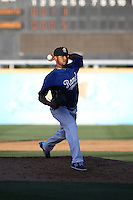 Jose Molina (46) of the Rancho Cucamonga Quakes pitches during a game against the San Jose Giants at LoanMart Field on August 30, 2015 in Rancho Cucamonga, California. Rancho Cucamonga defeated San Jose, 8-3. (Larry Goren/Four Seam Images)